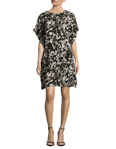 H Halston Floral-Printed Cascade Dress-BLACK FLORAL-Small