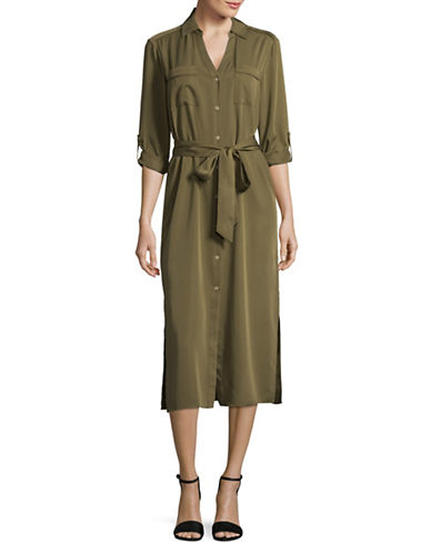 H Halston Belted Shirt Dress-OLIVE-Small