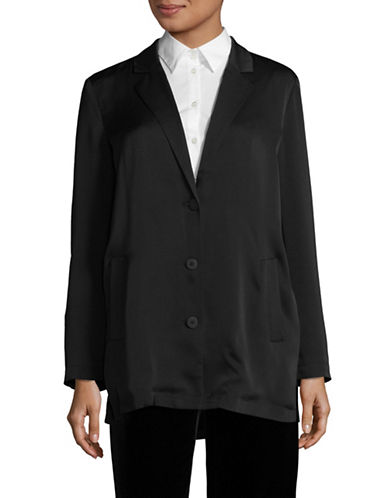 H Halston Loose-Fit Notched Collar Blazer-BLACK-X-Small