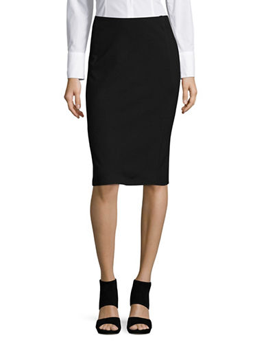 H Halston Midi Pencil Skirt-BLACK-Medium