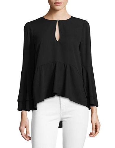 H Halston Bell Sleeve Top-BLACK-Small