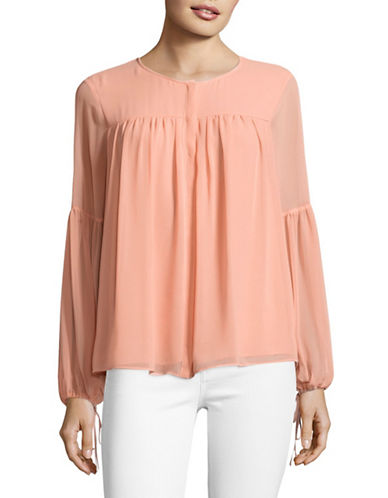 H Halston Gathered Blouse-CORAL-Medium