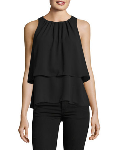 H Halston Tiered Swing Top-BLACK-Medium