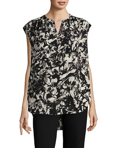 H Halston Crepe Trapeze Blouse-BLACK FLORAL-Medium