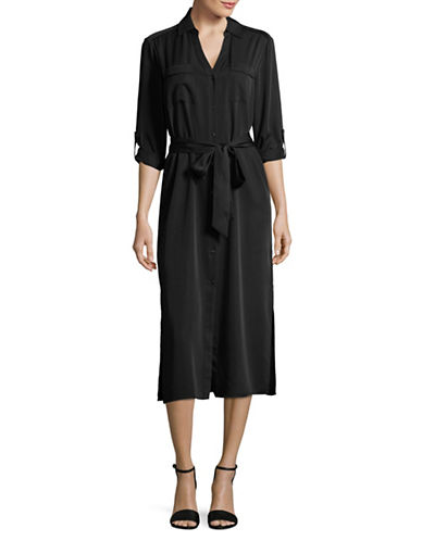 H Halston Belted Shirt Dress-BLACK-Small