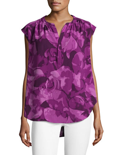H Halston Crepe Trapeze Blouse-PURPLE-X-Large
