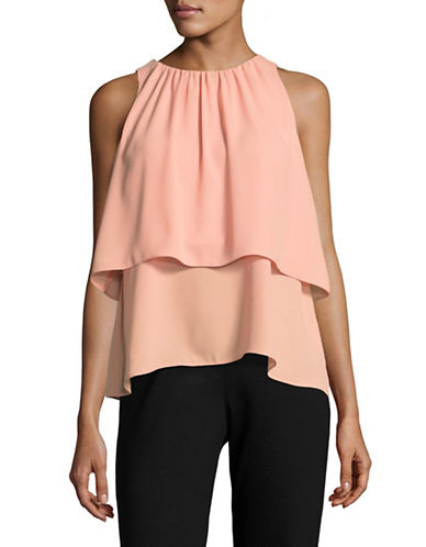 H Halston Tiered Swing Top-CORAL-Large
