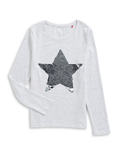 Manguun Star Long Sleeve Tee-GREY-Small