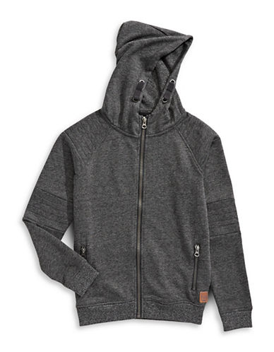 Manguun Hooded Sweat Jacket-GREY-Medium