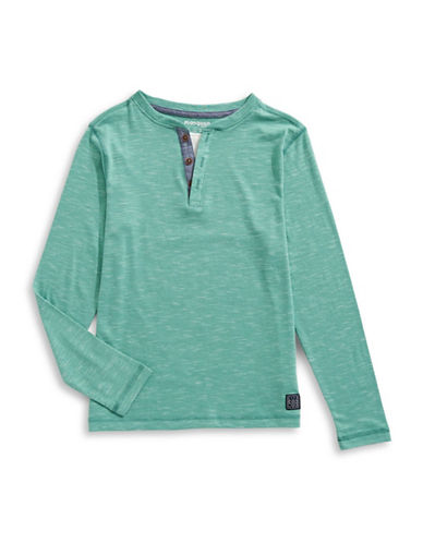 Manguun Cotton-Blend Henley-GREEN-X-Large
