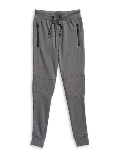 Manguun Quilted Sweatpants-GREY-X-Large