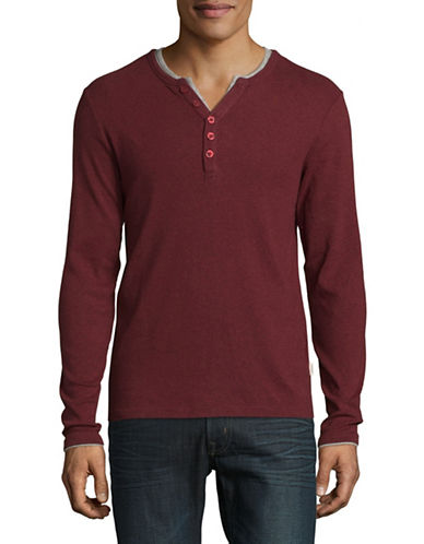 Manguun Long Sleeve Henley T-Shirt-RED-Medium