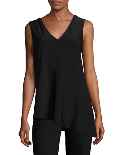 H Halston Sleeveless Asymmetrical Top-BLACK-X-Small