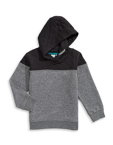 Bob Der Bar Contrast Quilt Pullover Hoodie-GREY-2