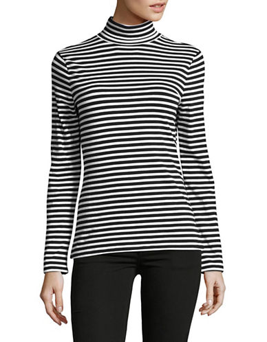 Lord & Taylor Cotton Long Sleeve Turtleneck-BLACK MULTI-Large