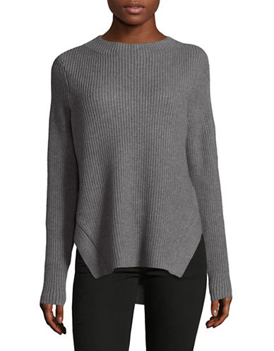 Lord & Taylor Ribbed Mockneck Pullover-GREY-Large