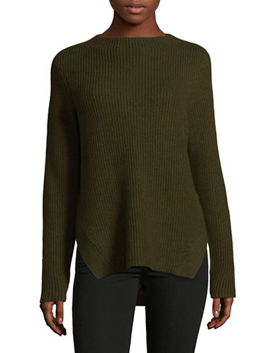 Lord & Taylor Ribbed Mockneck Pullover-GREEN-Large