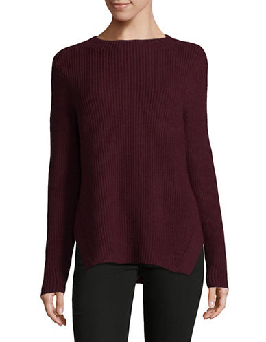 Lord & Taylor Ribbed Mockneck Pullover-PURPLE-Small