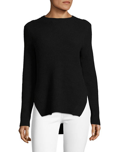 Lord & Taylor Ribbed Mockneck Pullover-BLACK-Large