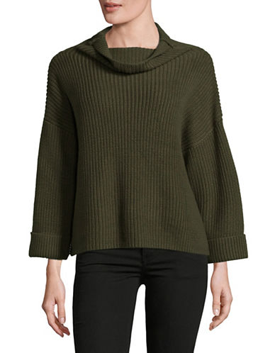 Lord & Taylor A-Line Funnel Neck Sweater-GREEN-Large