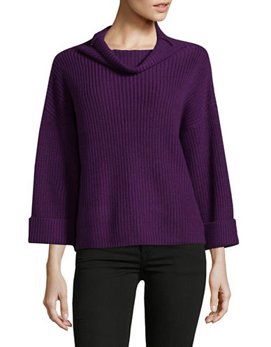 Lord & Taylor A-Line Funnel Neck Sweater-PURPLE-X-Small