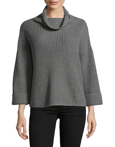 Lord & Taylor A-Line Funnel Neck Sweater-GREY-X-Small