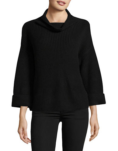 Lord & Taylor A-Line Funnel Neck Sweater-BLACK-Small