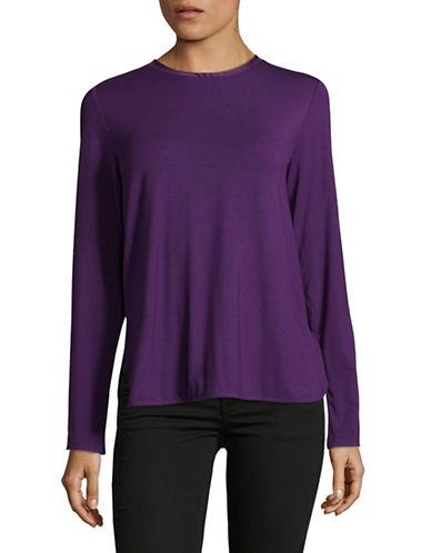 Lord & Taylor Charm Tie-Back Blouse-PURPLE-Large