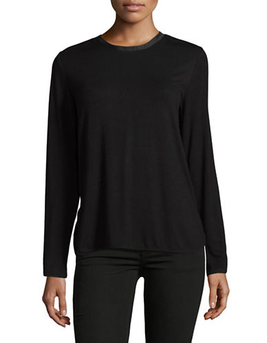 Lord & Taylor Charm Tie-Back Blouse-BLACK-Large