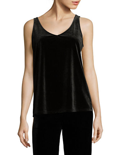 Lord & Taylor V-Neck Velvet Tank Top-BLACK-X-Small