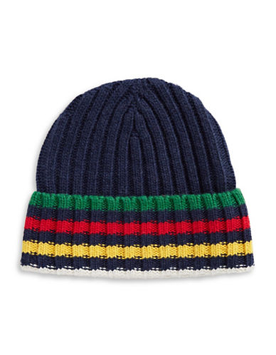 HudsonS Bay Company Silverlake Multistripe Ribbed Tuque-NAVY MULTI-One Size