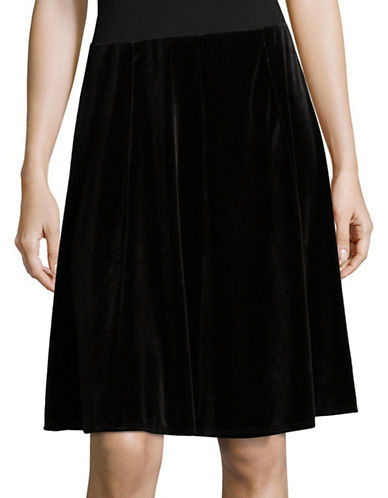 Lord & Taylor Velvet Skirt-BLACK-Small