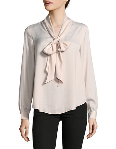 Lord & Taylor Self Bow-Tie Blouse-PURPLE-Small