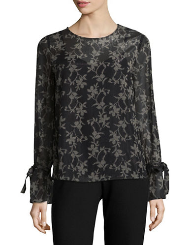 Lord & Taylor Plus Lisa Bow-Cuff Blouse-BLACK-2X