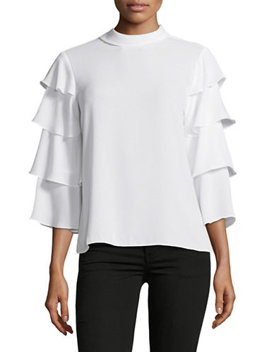 Lord & Taylor Elena Tiered-Sleeve Blouse-NATURAL-Medium