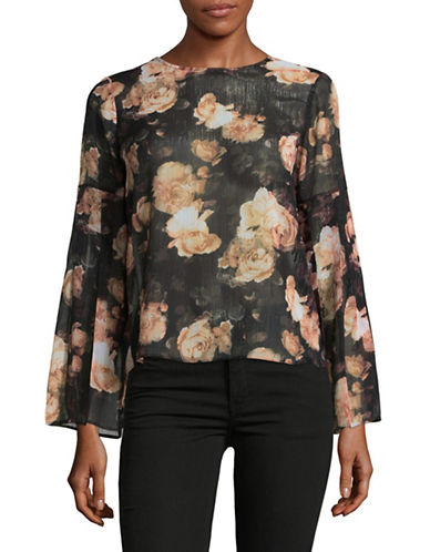 Lord & Taylor Elena Sheer Flute-Sleeve Blouse-BLACK-Medium