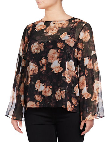 Lord & Taylor Plus Sheer Floral Blouse-BLACK-0X