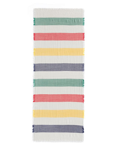 HudsonS Bay Company Fringed Multi-Stripe Wool Scarf-MULTI-One Size