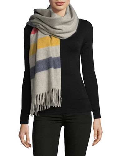 HudsonS Bay Company Multi-Coloured Wool-Cashmere Scarf-GREY MULTI-One Size