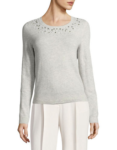 Lord & Taylor Embellished Crew Neck Sweater-GREY-Small