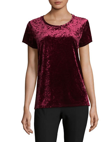 Lord & Taylor Begonia Velvet Boxy Tee-PURPLE-X-Small