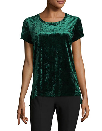 Lord & Taylor Begonia Velvet Boxy Tee-GREEN-X-Small