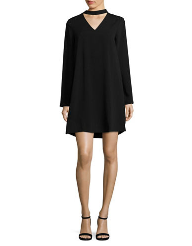 Lord & Taylor Belinda Long Sleeve Shift Choker Dress-BLACK-Small