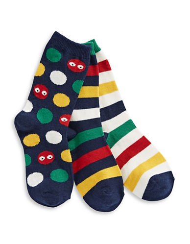 HudsonS Bay Company Set of Three Pack Stripe Crew Socks-ASSORTED-Large
