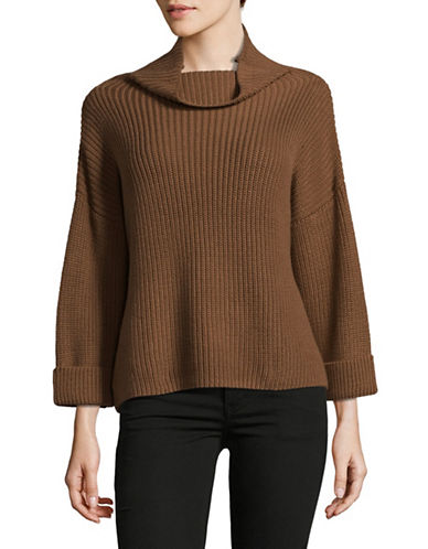 Lord & Taylor Petite Slouchy Funnel Neck Sweater-BROWN-Petite X-Small
