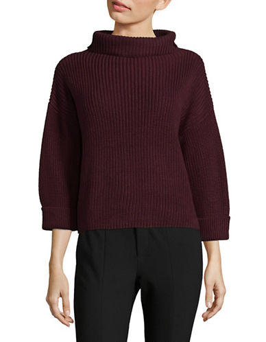 Lord & Taylor Petite Slouchy Funnel Neck Sweater-PURPLE-Petite X-Small