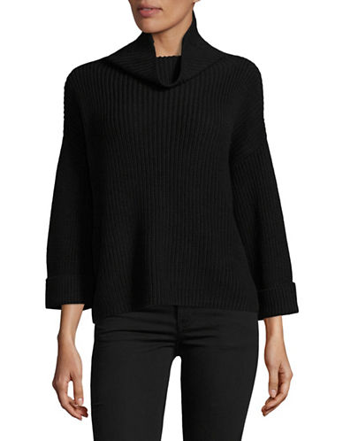 Lord & Taylor Petite Slouchy Funnel Neck Sweater-BLACK-Petite Small