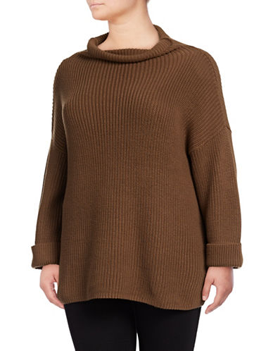 Lord & Taylor Plus Comfy Sweater-BROWN-1X