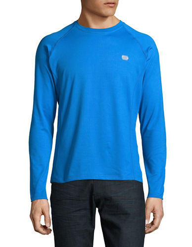 Manguun Long Sleeve Round Neck Logo Tee-BLUE-Small