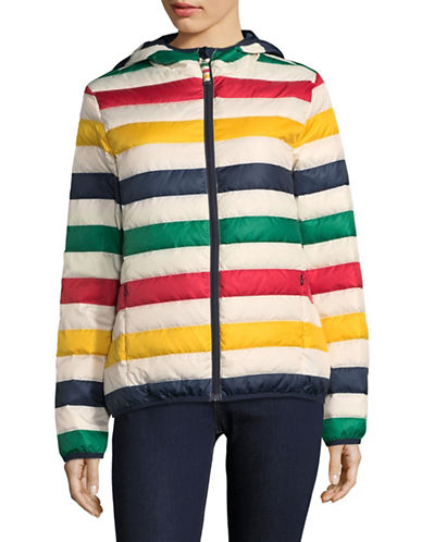 HudsonS Bay Company Womens Multistripe Packable Puffer Jacket-MULTI-Small